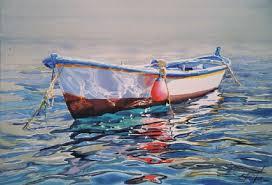 una piccola barca lasciata sola